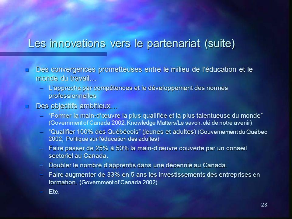 28 Les innovations vers le partenariat (suite) n Des convergences prometteuses entre le milieu de léducation et le monde du travail… –Lapproche par compétences et le développement des normes professionnelles n Des objectifs ambitieux… –Former la main-dœuvre la plus qualifiée et la plus talentueuse du monde ( –Former la main-dœuvre la plus qualifiée et la plus talentueuse du monde (Government of Canada 2002, Knowledge Matters/Le savoir, clé de notre avenir) –Qualifier 100% des Québécois (jeunes et adultes) (Gouvernement du Québec 2002, Politique sur léducation des adultes) –Faire passer de 25% à 50% la main-dœuvre couverte par un conseil sectoriel au Canada.