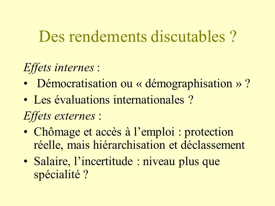 Des rendements discutables . Effets internes : Démocratisation ou « démographisation » .