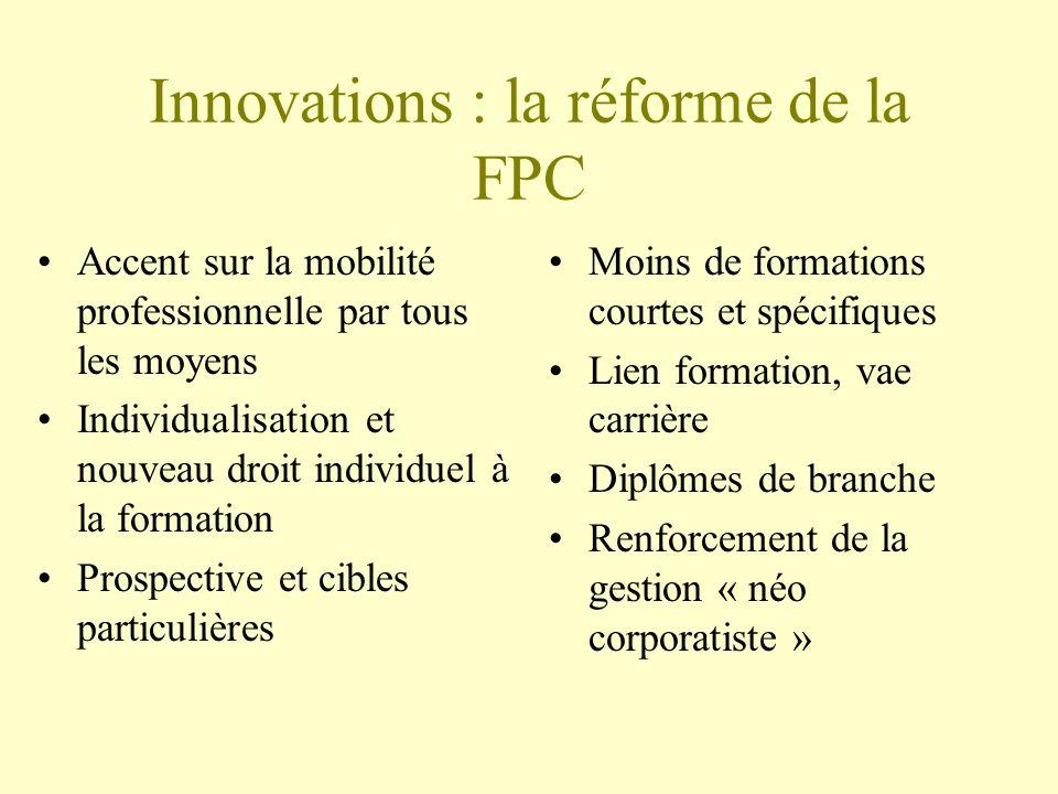 Innovations : la réforme de la FPC Accent sur la mobilité professionnelle par tous les moyens Individualisation et nouveau droit individuel à la formation Prospective et cibles particulières Moins de formations courtes et spécifiques Lien formation, vae carrière Diplômes de branche Renforcement de la gestion « néo corporatiste »