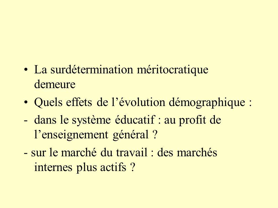 La surdétermination méritocratique demeure Quels effets de lévolution démographique : -dans le système éducatif : au profit de lenseignement général .