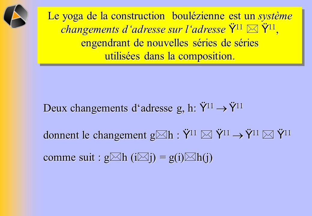 Le yoga de la construction boulézienne est un système changements dadresse sur ladresse Ÿ 11 Ÿ 11, engendrant de nouvelles séries de séries utilisées