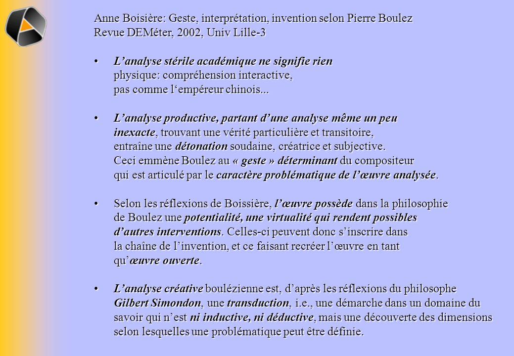 Anne Boisière: Geste, interprétation, invention selon Pierre Boulez Revue DEMéter, 2002, Univ Lille-3 Lanalyse stérile académique ne signifie rien phy