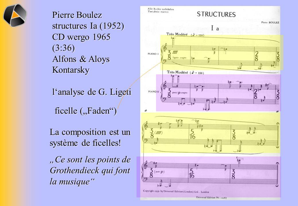 Pierre Boulez structures Ia (1952) CD wergo 1965 (3:36) Alfons & Aloys Kontarsky lanalyse de G. Ligeti ficelle (Faden) La composition est un système d