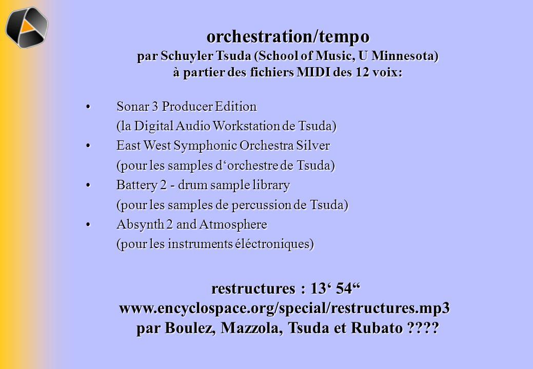 orchestration/tempo par Schuyler Tsuda (School of Music, U Minnesota) à partier des fichiers MIDI des 12 voix: Sonar 3 Producer Edition (la Digital Au