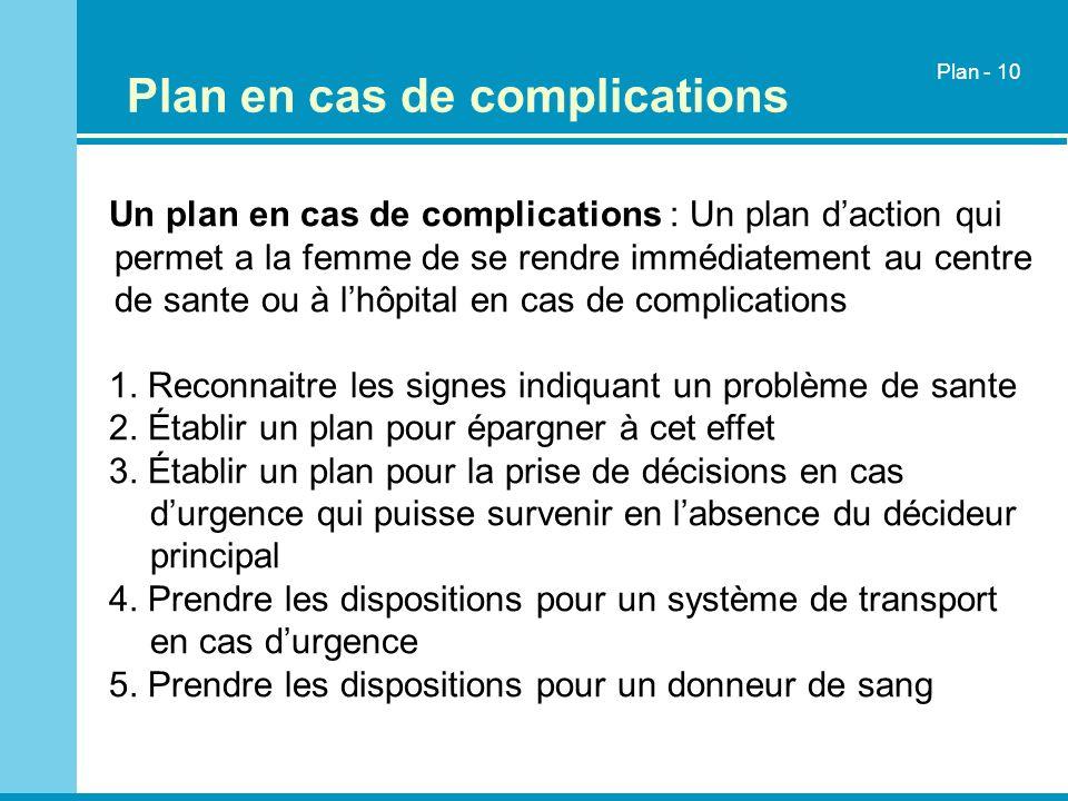 Plan en cas de complications Un plan en cas de complications : Un plan daction qui permet a la femme de se rendre immédiatement au centre de sante ou
