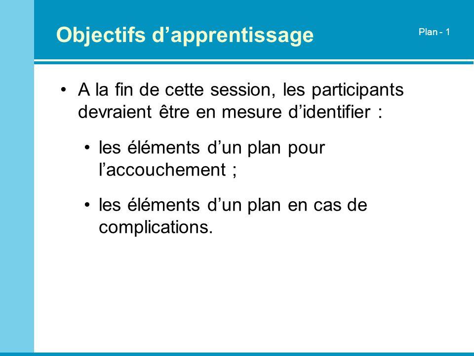Objectifs dapprentissage A la fin de cette session, les participants devraient être en mesure didentifier : les éléments dun plan pour laccouchement ;