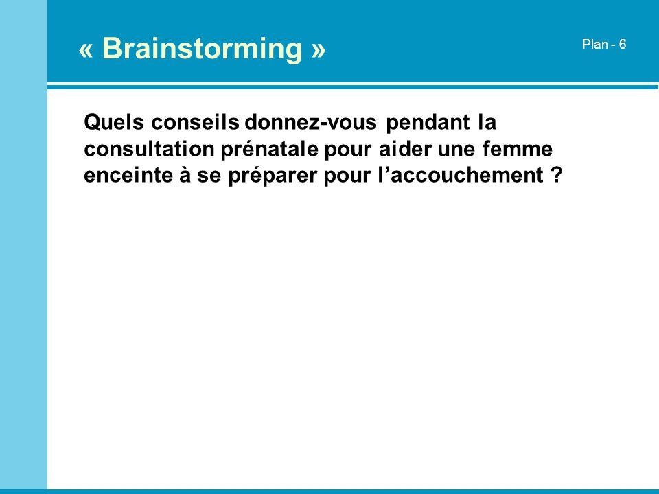 « Brainstorming » Quels conseils donnez-vous pendant la consultation prénatale pour aider une femme enceinte à se préparer pour laccouchement ? Plan -