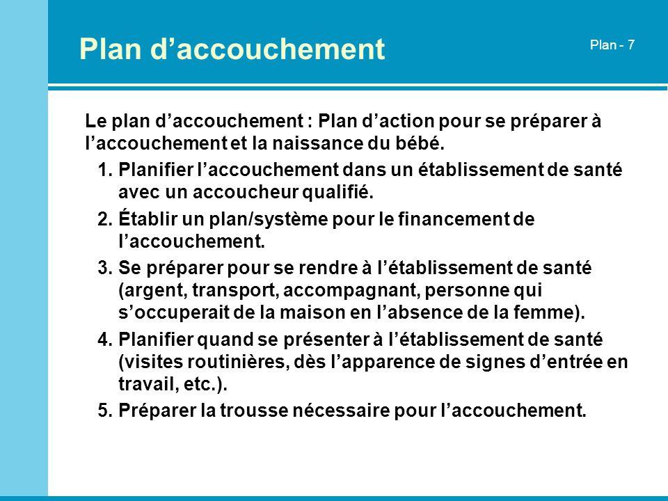 Plan daccouchement Le plan daccouchement : Plan daction pour se préparer à laccouchement et la naissance du bébé. 1.Planifier laccouchement dans un ét