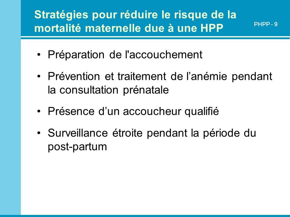 Stratégies pour réduire le risque de la mortalité maternelle due à une HPP Préparation de l'accouchement Prévention et traitement de lanémie pendant l