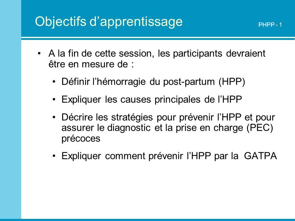 Objectifs dapprentissage A la fin de cette session, les participants devraient être en mesure de : Définir lhémorragie du post-partum (HPP) Expliquer