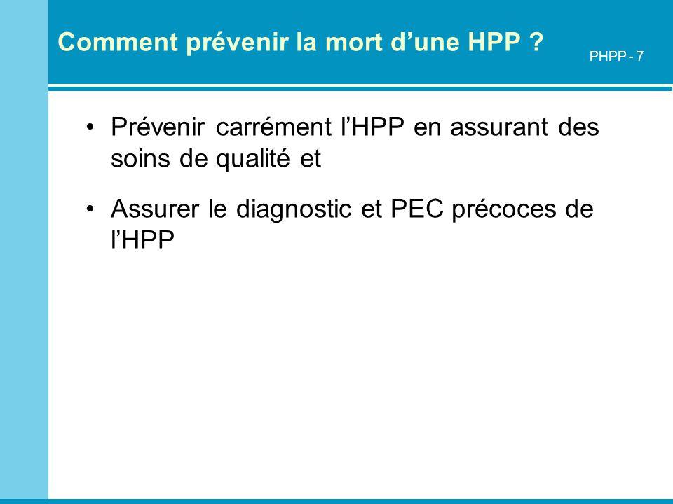 Comment prévenir la mort dune HPP ? Prévenir carrément lHPP en assurant des soins de qualité et Assurer le diagnostic et PEC précoces de lHPP PHPP - 7