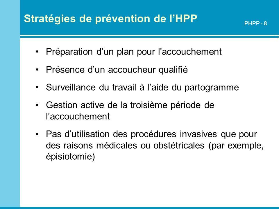 Stratégies pour réduire le risque de la mortalité maternelle due à une HPP Préparation de l accouchement Prévention et traitement de lanémie pendant la consultation prénatale Présence dun accoucheur qualifié Surveillance étroite pendant la période du post-partum PHPP - 9