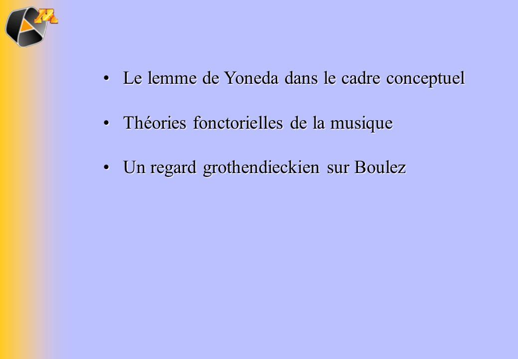 Le lemme de Yoneda dans le cadre conceptuelLe lemme de Yoneda dans le cadre conceptuel Théories fonctorielles de la musiqueThéories fonctorielles de l