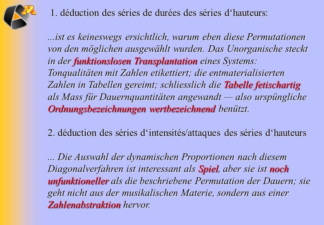 1. déduction des séries de durées des séries dhauteurs: 1. déduction des séries de durées des séries dhauteurs:...ist es keineswegs ersichtlich, warum