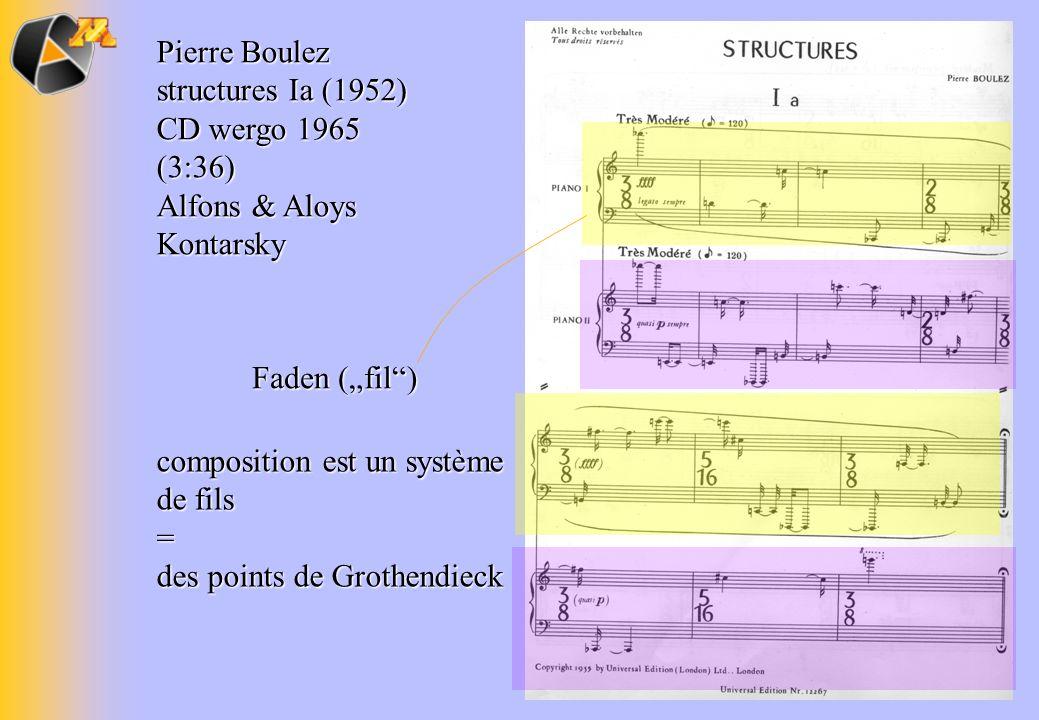 Pierre Boulez structures Ia (1952) CD wergo 1965 (3:36) Alfons & Aloys Kontarsky Faden (fil) composition est un système de fils = des points de Grothe