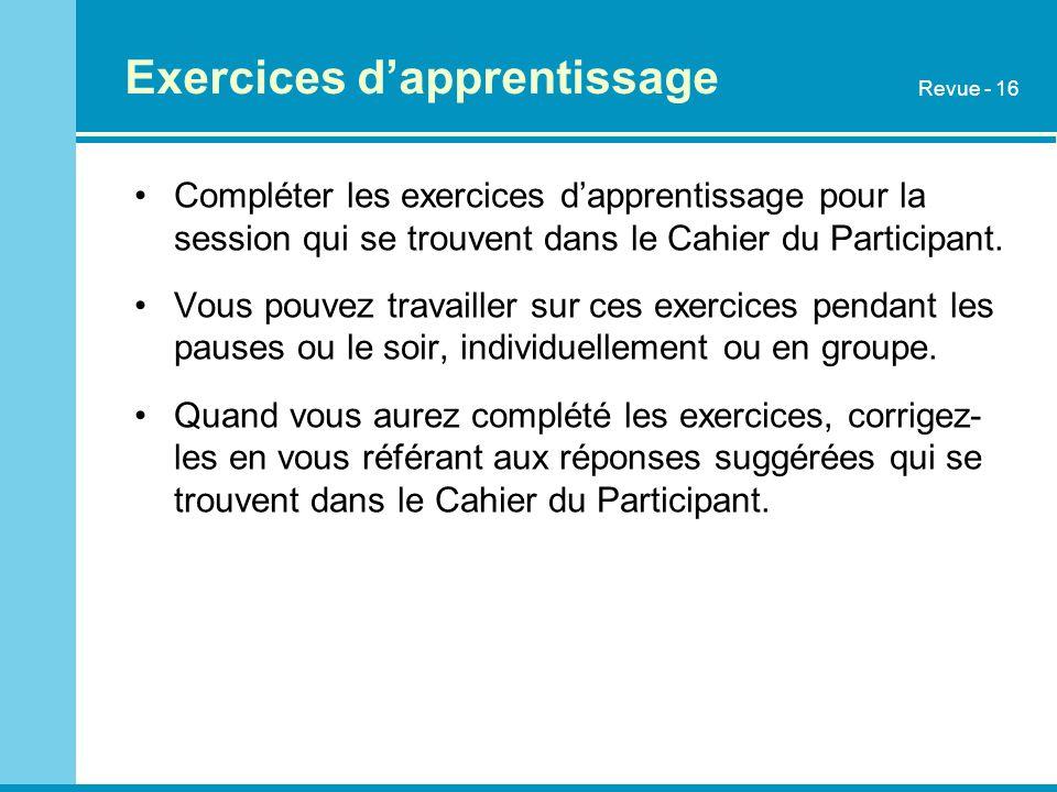 Exercices dapprentissage Compléter les exercices dapprentissage pour la session qui se trouvent dans le Cahier du Participant. Vous pouvez travailler