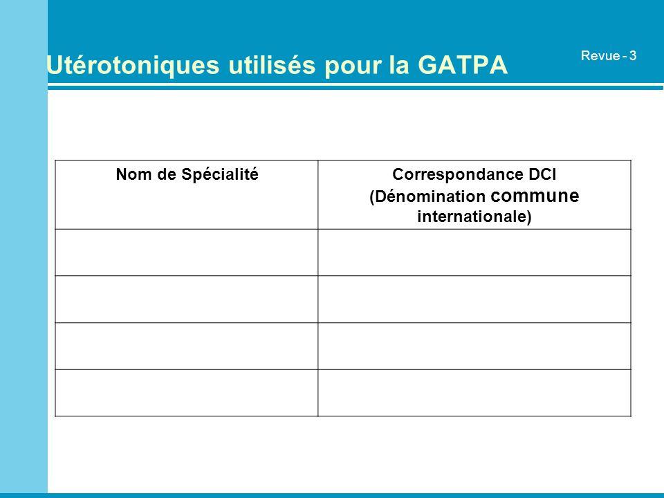 Utérotoniques utilisés pour la GATPA Nom de SpécialitéCorrespondance DCI (Dénomination commune internationale) Revue - 3