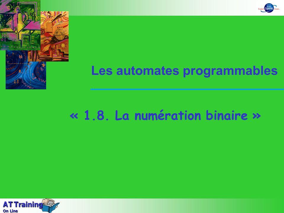 2 Séquence 1 animation 8 – La numération binaire A T Training On Line Le système décimal Lécriture des nombres se fait à laide de 10 symboles ordonnés (ou « DIGIT » en anglais) ; ce sont les chiffres arabes : 0 - 1 - 2 - 3 - 4 - 5 - 6 - 7 - 8 - 9 Le nombre de symboles utilisés sappelle la base du système de numération.