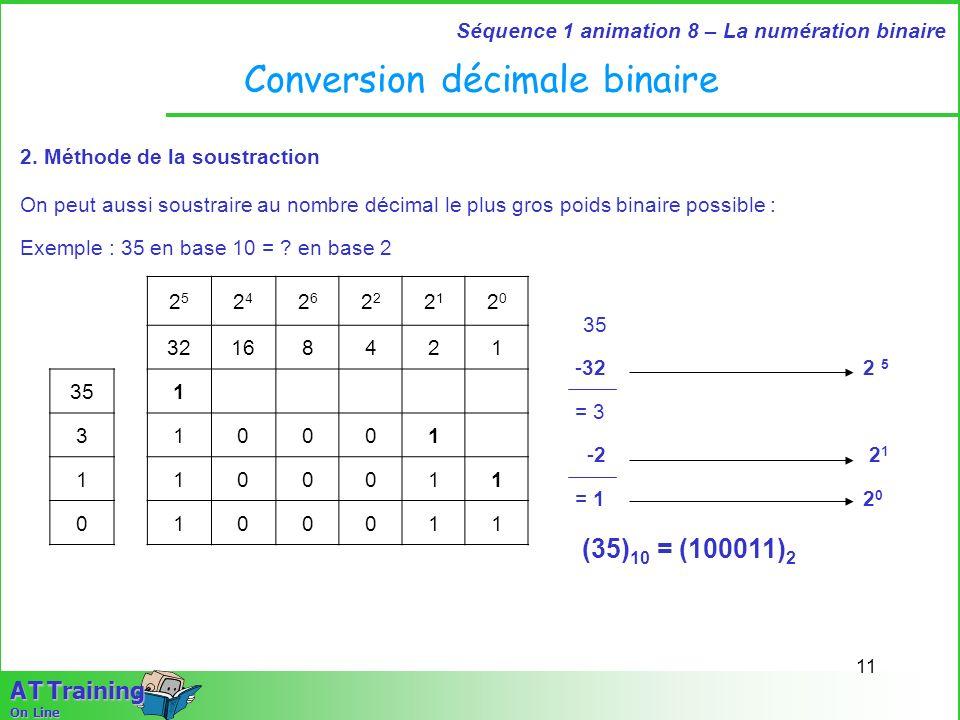 11 Séquence 1 animation 8 – La numération binaire A T Training On Line Conversion décimale binaire 2. Méthode de la soustraction On peut aussi soustra
