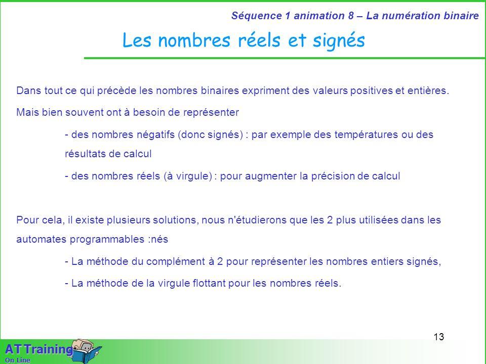 13 Séquence 1 animation 8 – La numération binaire A T Training On Line Les nombres réels et signés Dans tout ce qui précède les nombres binaires expri