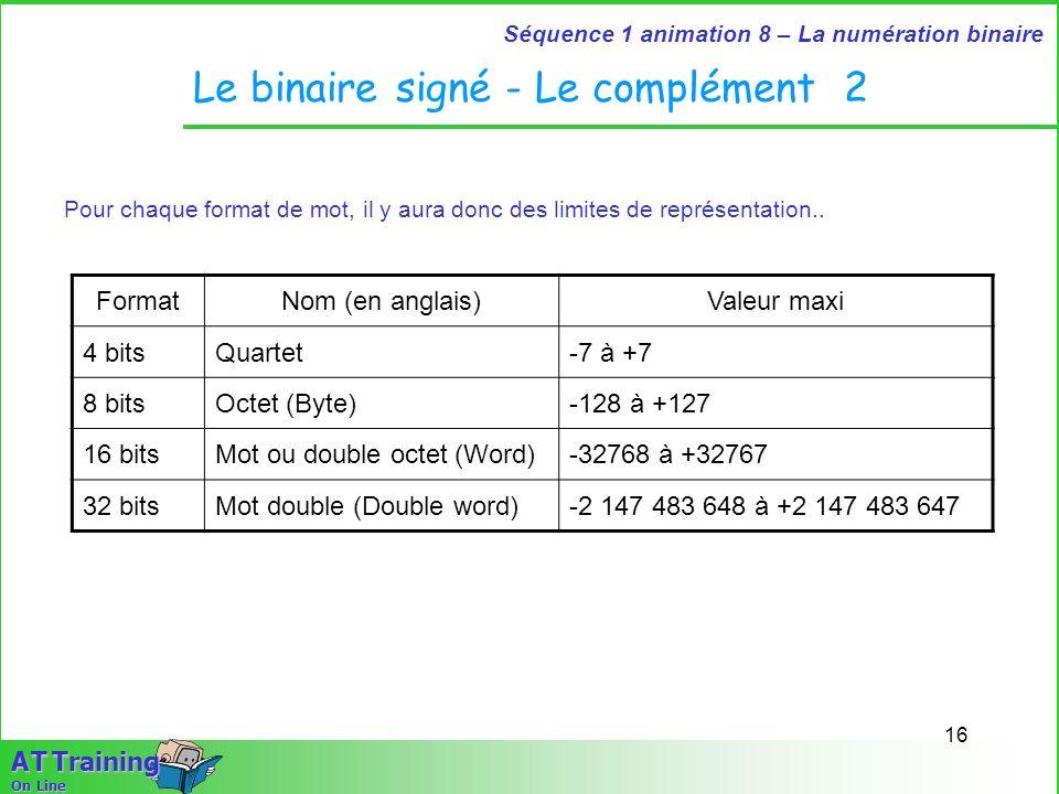 16 Séquence 1 animation 8 – La numération binaire A T Training On Line Le binaire signé - Le complément 2 Pour chaque format de mot, il y aura donc de