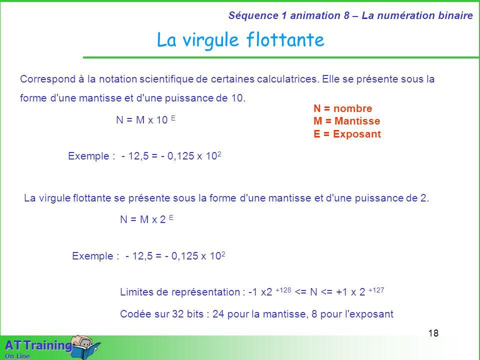 18 Séquence 1 animation 8 – La numération binaire A T Training On Line La virgule flottante Correspond à la notation scientifique de certaines calcula