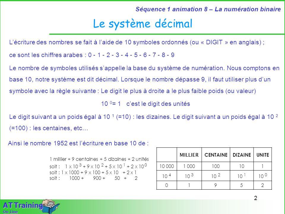 3 Séquence 1 animation 8 – La numération binaire A T Training On Line Le système décimal Pour représenter les nombres fractionnaires (compris entre 0 et 1), on utilise la règle suivante : On place une virgule (ou un point chez les anglo-saxons) Le digit immédiatement à droite à le poids 10 –1 (0.1 ou 1/10) Le poids suivant est 10 –2 (0.01 ou 1/100).