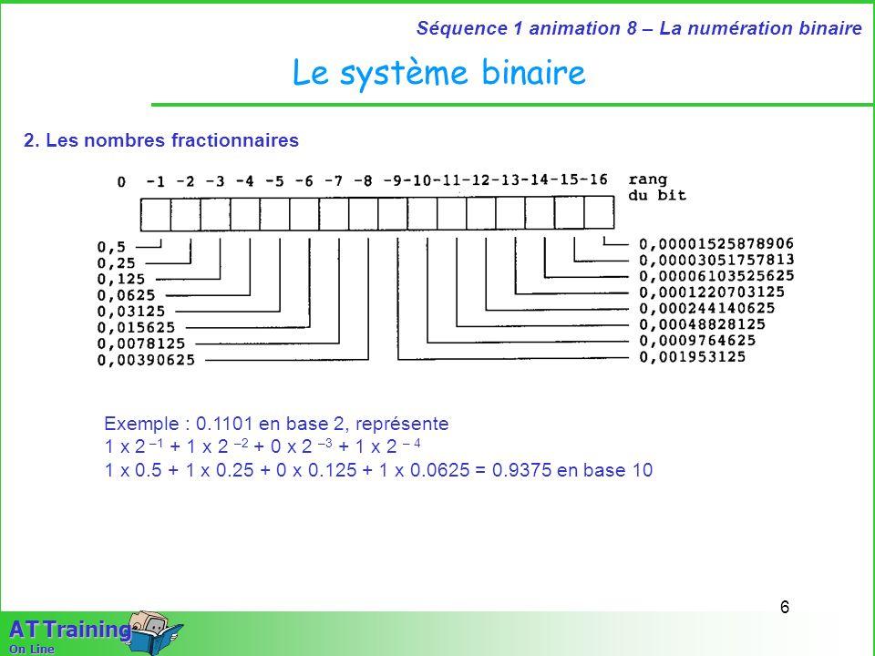 7 Séquence 1 animation 8 – La numération binaire A T Training On Line Les mots Les machines utilisant le système binaire acceptent un nombre donné de bits, par exemple 4 - 8 - 16 - … Ce nombre de bit détermine ce que lon appelle le format.