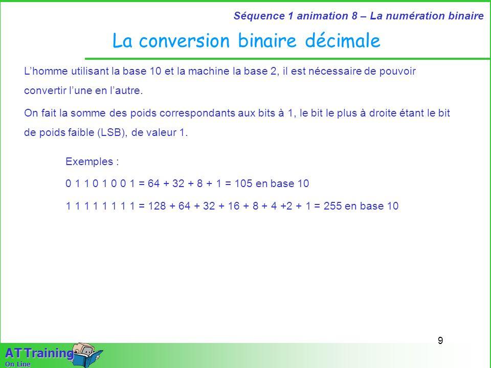 9 Séquence 1 animation 8 – La numération binaire A T Training On Line La conversion binaire décimale Lhomme utilisant la base 10 et la machine la base