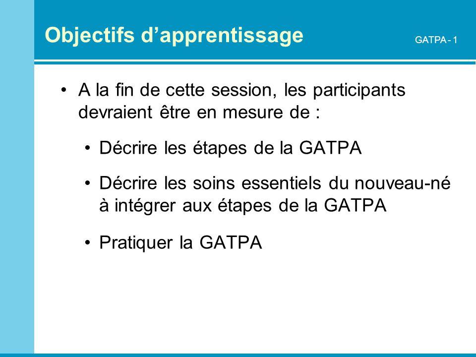 Objectifs dapprentissage A la fin de cette session, les participants devraient être en mesure de : Décrire les étapes de la GATPA Décrire les soins es