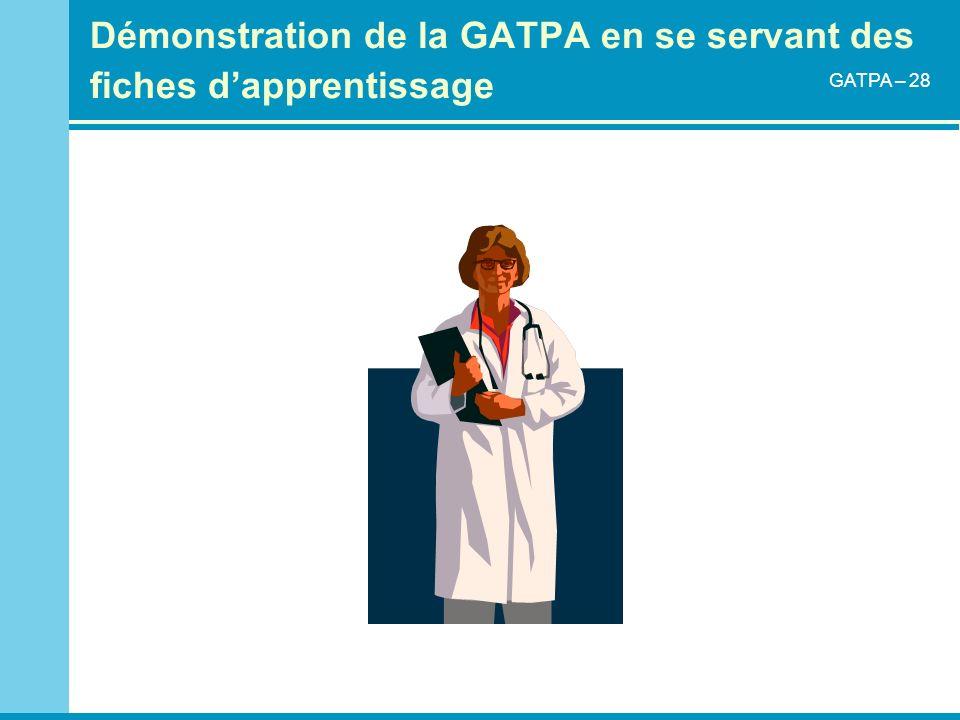 Démonstration de la GATPA en se servant des fiches dapprentissage GATPA – 28