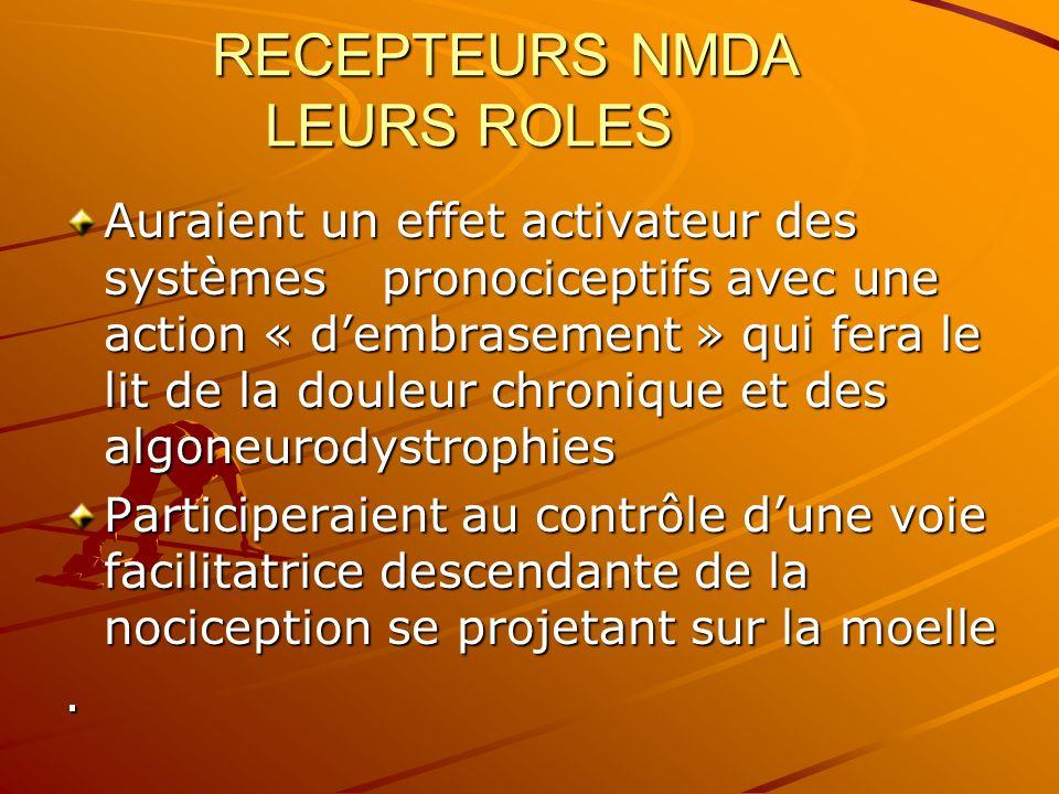 RECEPTEURS NMDA LEURS ROLES Auraient un effet activateur des systèmes pronociceptifs avec une action « dembrasement » qui fera le lit de la douleur ch