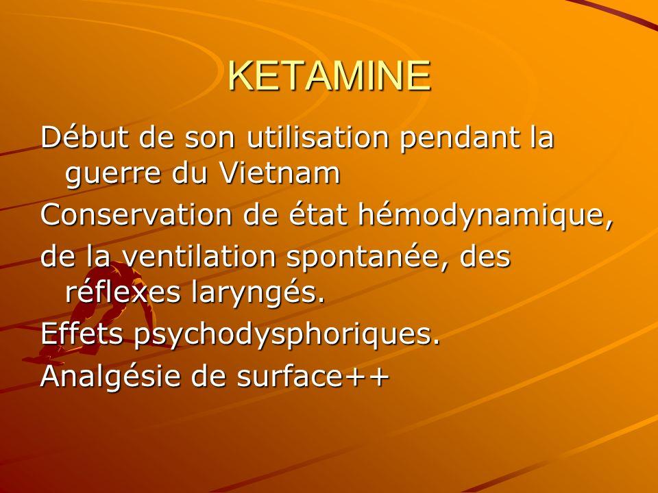KETAMINE Début de son utilisation pendant la guerre du Vietnam Conservation de état hémodynamique, de la ventilation spontanée, des réflexes laryngés.