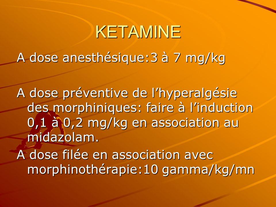 KETAMINE A dose anesthésique:3 à 7 mg/kg A dose préventive de lhyperalgésie des morphiniques: faire à linduction 0,1 à 0,2 mg/kg en association au midazolam.