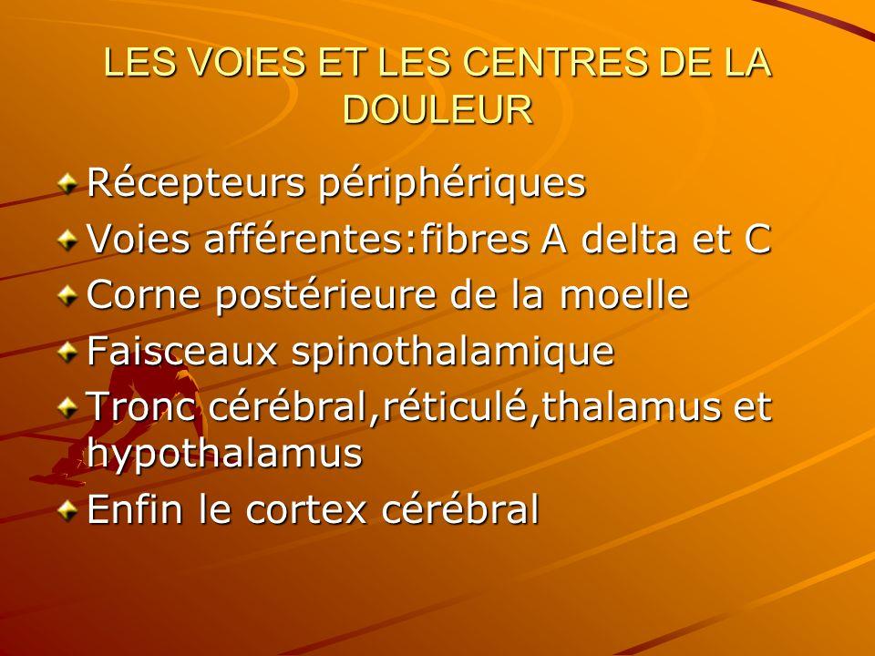 LES VOIES ET LES CENTRES DE LA DOULEUR Récepteurs périphériques Voies afférentes:fibres A delta et C Corne postérieure de la moelle Faisceaux spinothalamique Tronc cérébral,réticulé,thalamus et hypothalamus Enfin le cortex cérébral