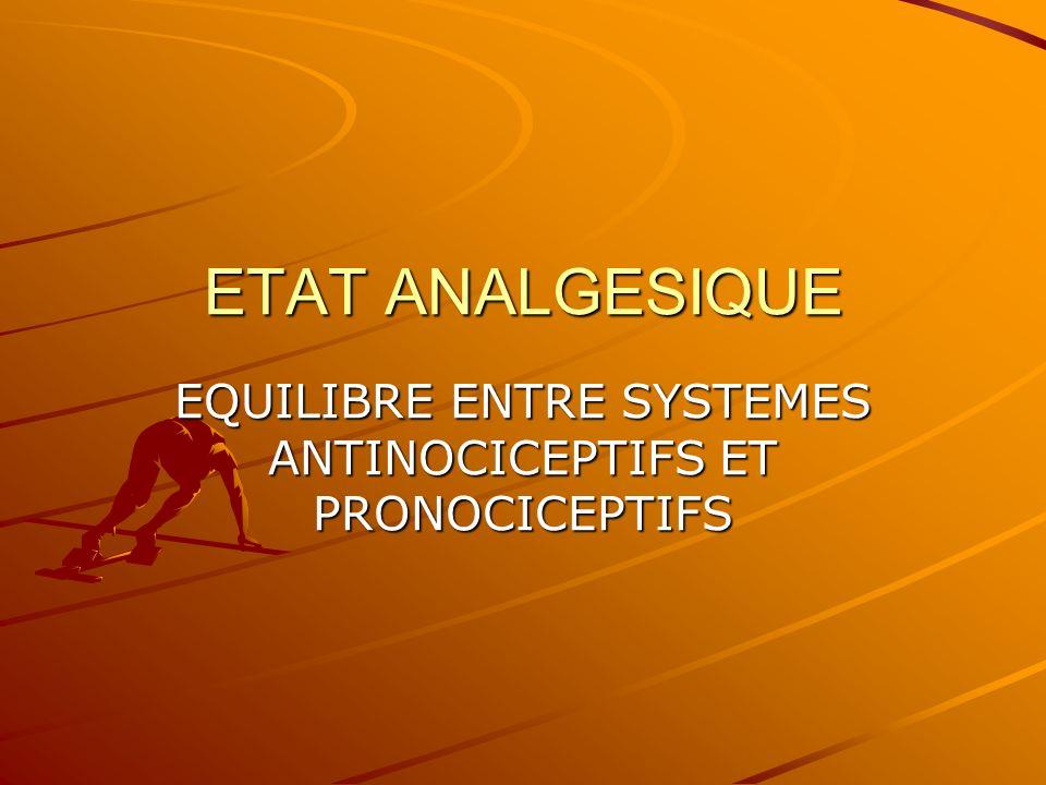 ETAT ANALGESIQUE EQUILIBRE ENTRE SYSTEMES ANTINOCICEPTIFS ET PRONOCICEPTIFS