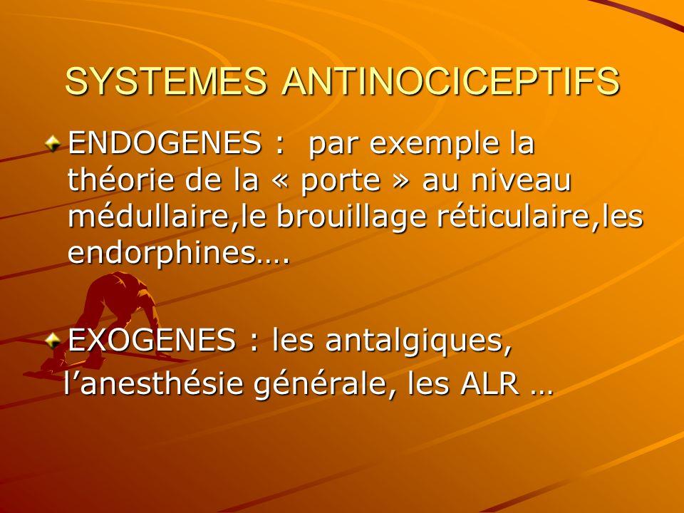 SYSTEMES ANTINOCICEPTIFS ENDOGENES : par exemple la théorie de la « porte » au niveau médullaire,le brouillage réticulaire,les endorphines…. EXOGENES