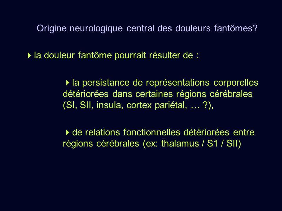 Origine neurologique central des douleurs fantômes? la douleur fantôme pourrait résulter de : la persistance de représentations corporelles détériorée