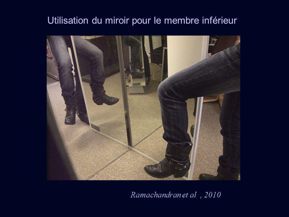 Utilisation du miroir pour le membre inférieur Ramachandran et al, 2010