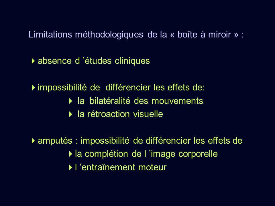 Limitations méthodologiques de la « boîte à miroir » : absence d études cliniques impossibilité de différencier les effets de: la bilatéralité des mou