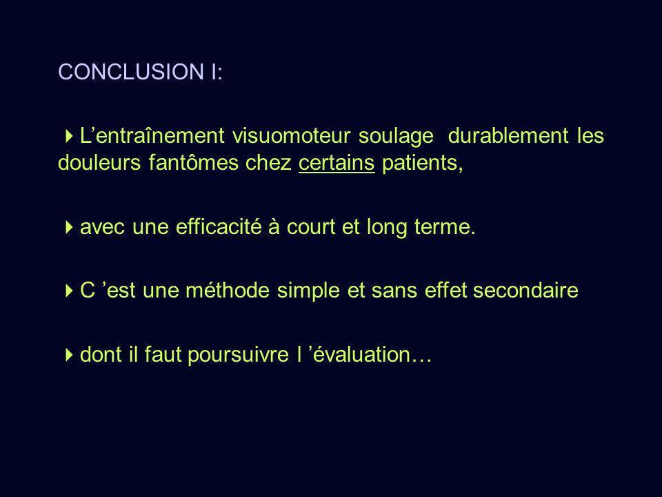 CONCLUSION I: Lentraînement visuomoteur soulage durablement les douleurs fantômes chez certains patients, avec une efficacité à court et long terme. C