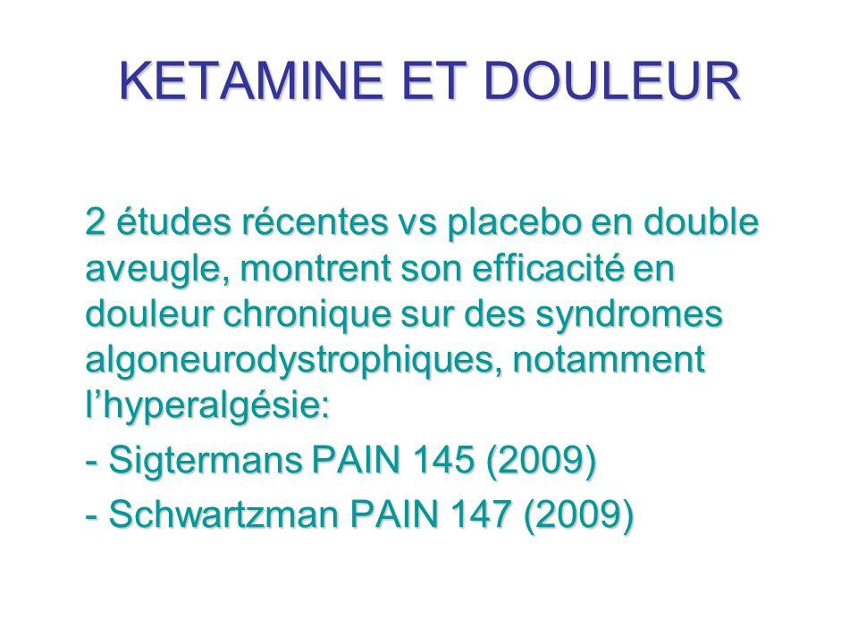 KETAMINE ET DOULEUR 2 études récentes vs placebo en double aveugle, montrent son efficacité en douleur chronique sur des syndromes algoneurodystrophiq
