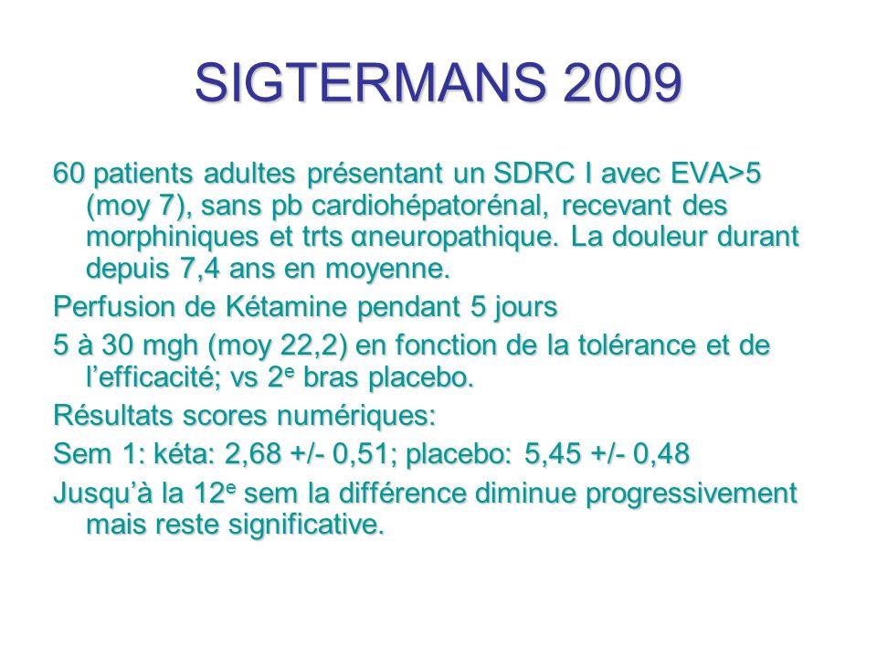 SIGTERMANS 2009 60 patients adultes présentant un SDRC I avec EVA>5 (moy 7), sans pb cardiohépatorénal, recevant des morphiniques et trts αneuropathiq