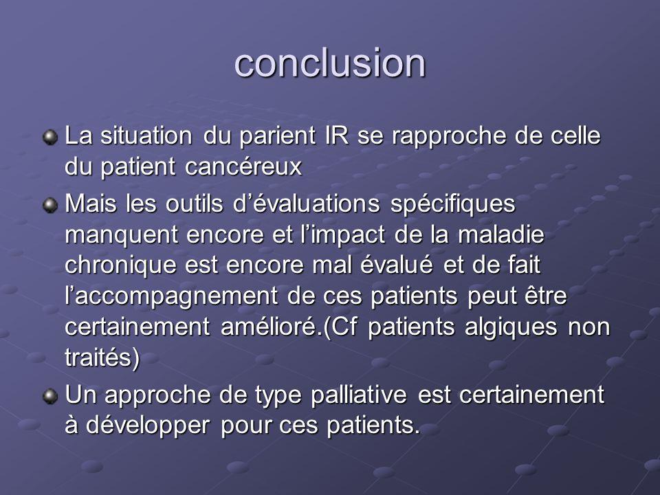 conclusion La situation du parient IR se rapproche de celle du patient cancéreux Mais les outils dévaluations spécifiques manquent encore et limpact d