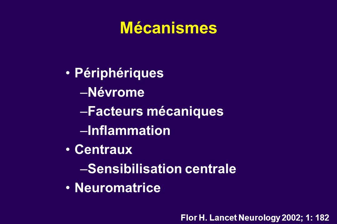 Mécanismes Périphériques –Névrome –Facteurs mécaniques –Inflammation Centraux –Sensibilisation centrale Neuromatrice Flor H. Lancet Neurology 2002; 1: