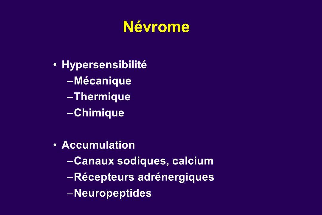 Névrome Hypersensibilité –Mécanique –Thermique –Chimique Accumulation –Canaux sodiques, calcium –Récepteurs adrénergiques –Neuropeptides