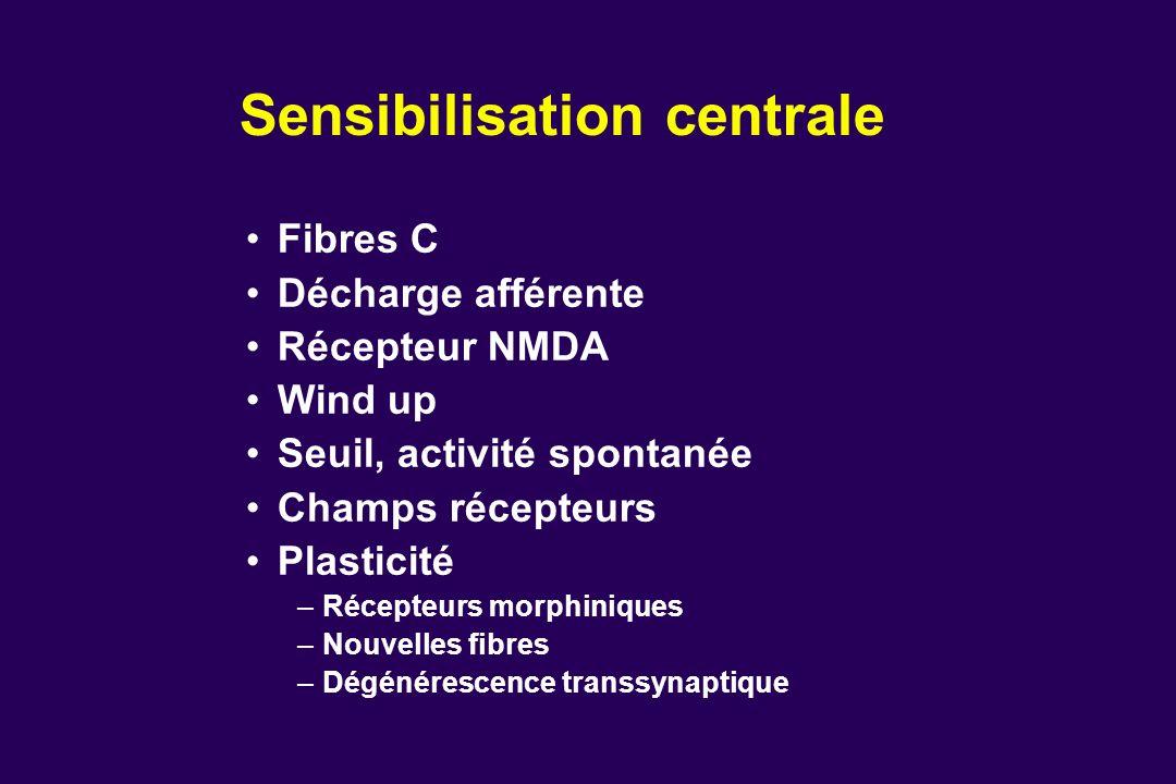 Sensibilisation centrale Fibres C Décharge afférente Récepteur NMDA Wind up Seuil, activité spontanée Champs récepteurs Plasticité –Récepteurs morphin
