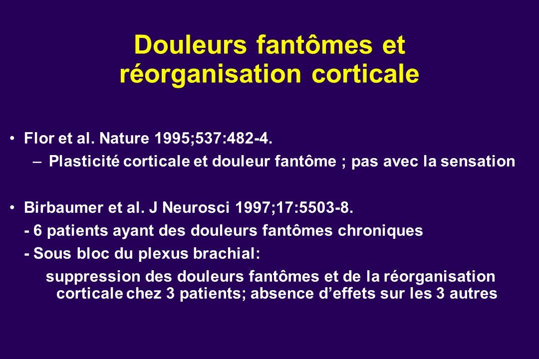 Douleurs fantômes et réorganisation corticale Flor et al. Nature 1995;537:482-4. – Plasticité corticale et douleur fantôme ; pas avec la sensation Bir