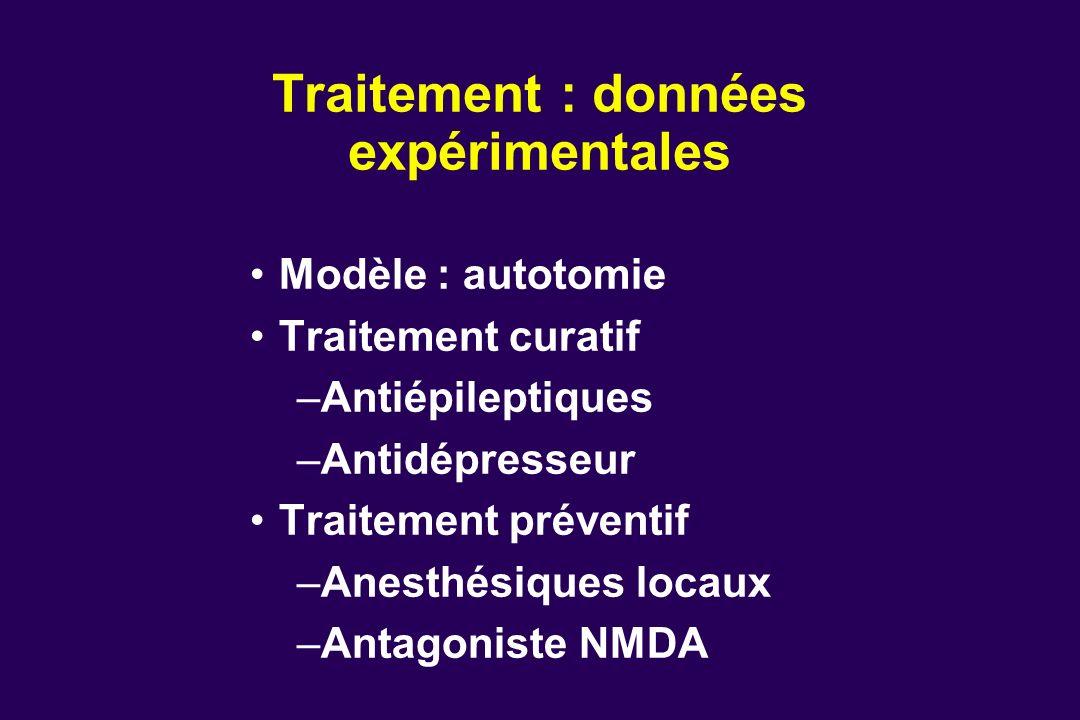 Traitement : données expérimentales Modèle : autotomie Traitement curatif –Antiépileptiques –Antidépresseur Traitement préventif –Anesthésiques locaux