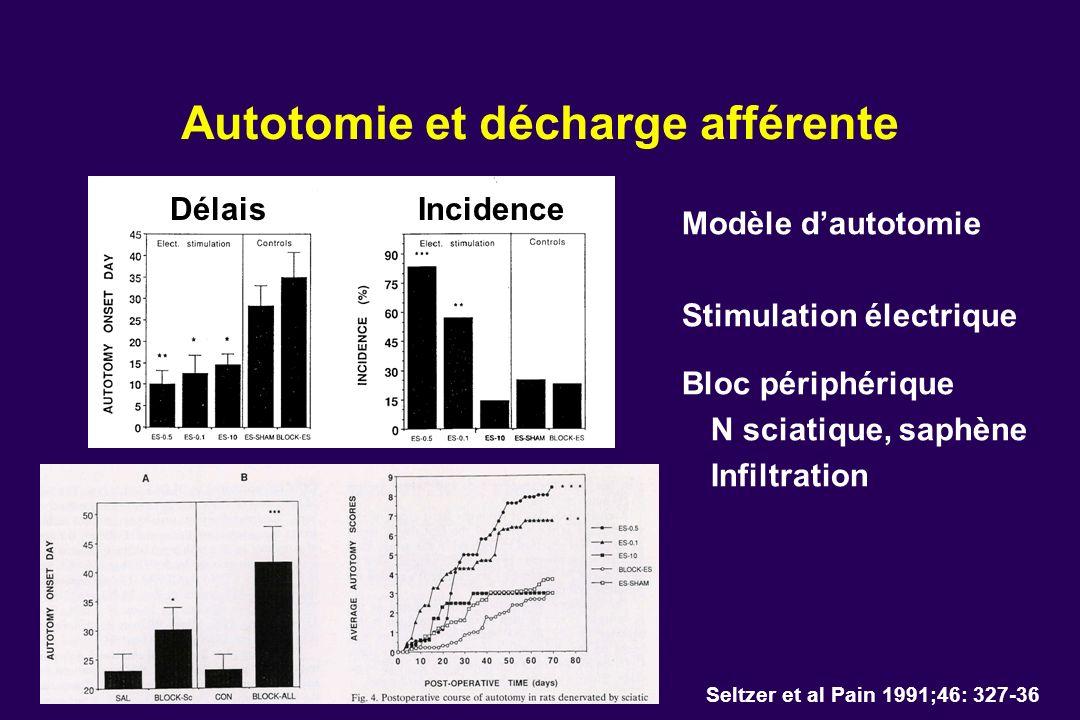 Autotomie et décharge afférente Modèle dautotomie Stimulation électrique Seltzer et al Pain 1991;46: 327-36 DélaisIncidence Bloc périphérique N sciati